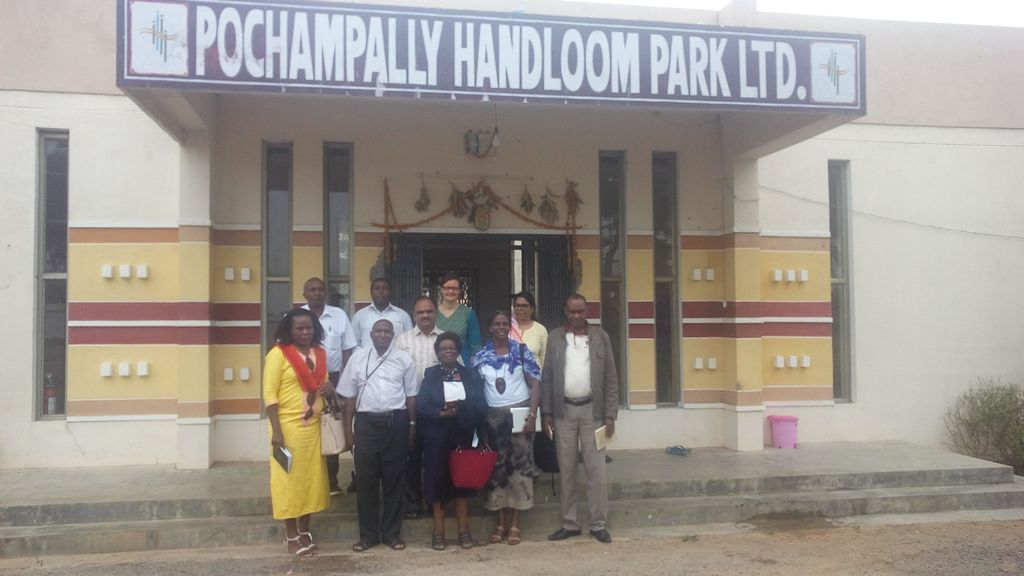 Kenyan handloom entrepreneurs and stakeholders get a first-hand experience of the intricacies of IKAT weaving process at Pochampally Handloom Park, Andhra Pradesh, India.