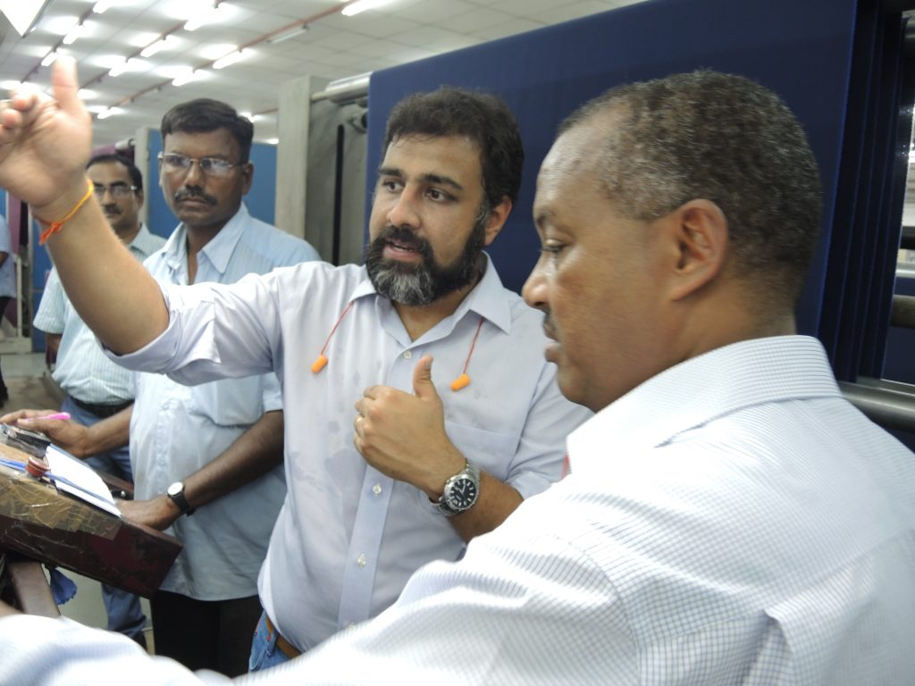 Mr. Punit Lalbhai and HE Mr. Bogale during the factory visit
